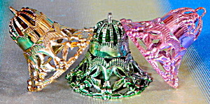 Vintage Metallic Plastic Bell Christmas Ornaments