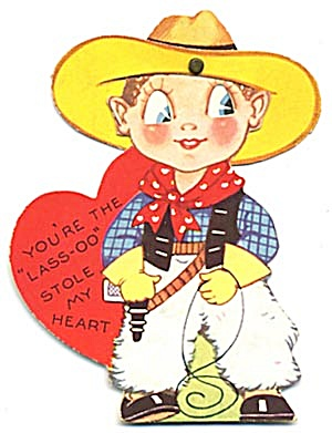 Vintage  Mechanical Valentine: Little Cowboy (Image1)