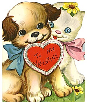 Vintage Valentine Card: Cat And Dog