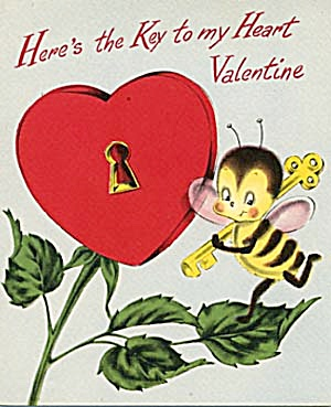Vintage Valentine Card: Bee With Key