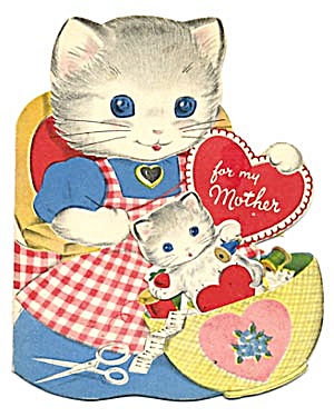 Vintage Valentine Card: Cat In Basket