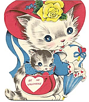 Vintage Valentine Card: Cat In Purse