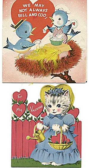 Vintage Valentine Cards: Cat And Birds