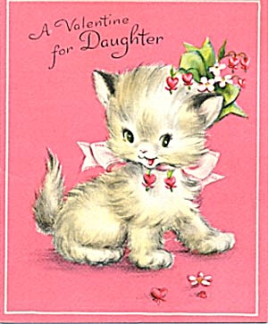 Vintage Valentine Card: Cat In Flower Hat