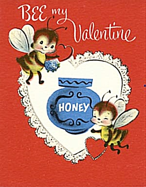 Vintage Valentine Card: Bees & Honey Pot