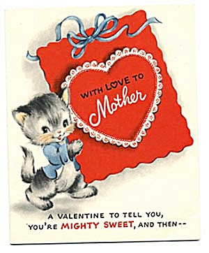 Vintage Valentine Cards: Kitties