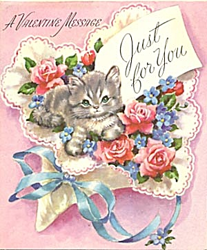 Vintage Valentine Card: Cat In Roses