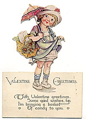 Vintage Valentine Girl With Basket