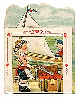 Vintage Valentine: Sailboat With Pirate & Sailor