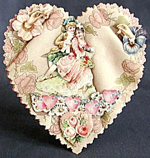 Vintage Early 1900's Large Rare Heart Valentine