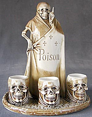 Vintage German Porcelain Skeleton Decanter Set (Image1)