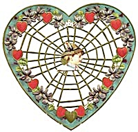 Cutout  Spiderweb Valentine with Hearts & Violets (Image1)