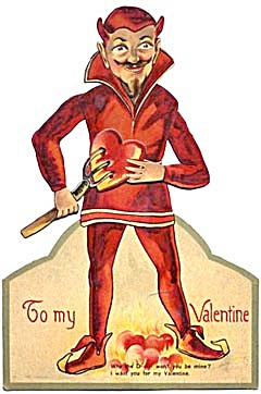 Vintage German Large Mechanical Devil Valentine Card (Image1)