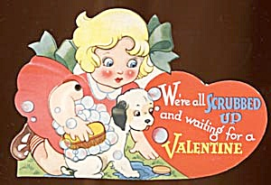Vintage Mechanical Valentine: Girl Washing Puppy