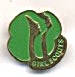 Girl Scouts Green Gold Pin With Faces
