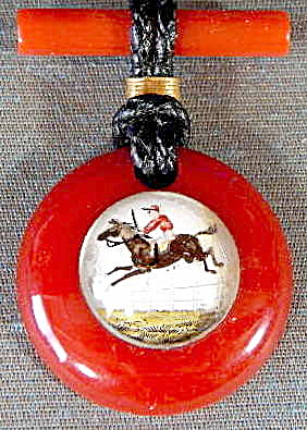 Vintage Red Bubble Pin Horse & Rider