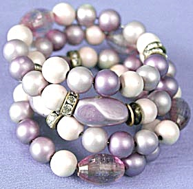 Vintage Purple Beaded Memory Bracelet (Image1)