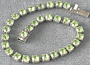 Vintage Lime Green Rhinestone Bracelet (Image1)