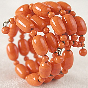 Vintage Orange Beaded Glass Memory Bracelet (Image1)