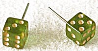 Vintage Bakelite Green Dice Post Earrings (Image1)