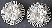 Vintage Soft Plastic White Earrings with Rhinestones (Image1)