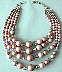 50's Mauve Aurora Crystal Faux Pearl Necklace