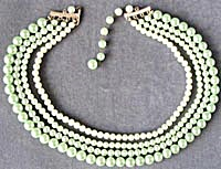 50's Shades Of Green Faux Pearl Necklace