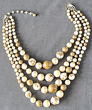 Vintage 4 Strand White & Carmel Necklace