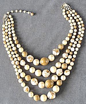 Vintage 4 Strand White & Carmel Necklace (Image1)