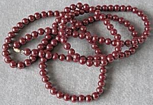 Vintage Cranberry Colored Necklace (Image1)