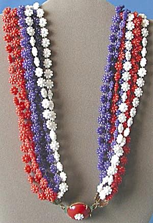 Vintage Red White & Blue Flower Necklace (Image1)