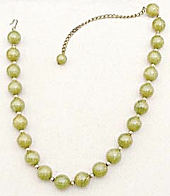 Vintage Green & Yellow Swirl Bakelite Beaded Necklace (Image1)