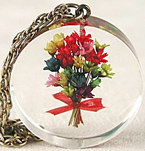 Vintage Acrylic Floral Necklace