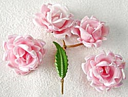 Vintage Pink Luster Rose Pin & Earrings (Image1)