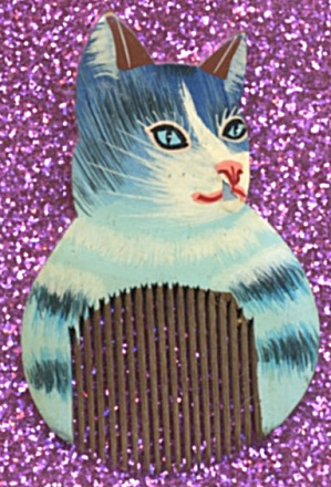 Vintage Hand Painted Wooden Mini Cat Comb