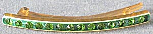 Vintage Celluloid Hair Barrette Green Rhinestones