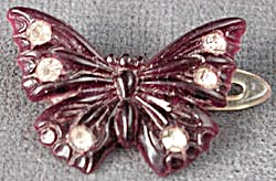 Vintage Butterfly Barrette With Rhinestones
