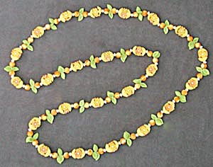 Yellow and Orange Flower Necklace (Image1)