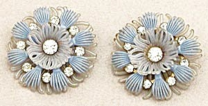 Vintage Soft Plastic Blue Earrings with Rhinestones (Image1)