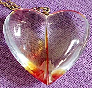 Vintage Lucite Heart Pendent on Gold Tone Chain (Image1)