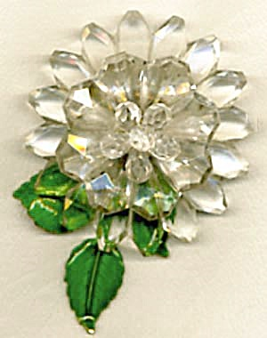 Vintage Western Germany Plastic & Metal Flower Pin (Image1)
