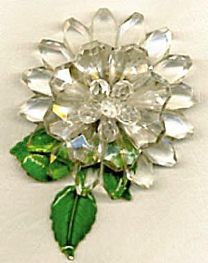 Vintage Western Germany Plastic & Metal Flower Pin (Image1)
