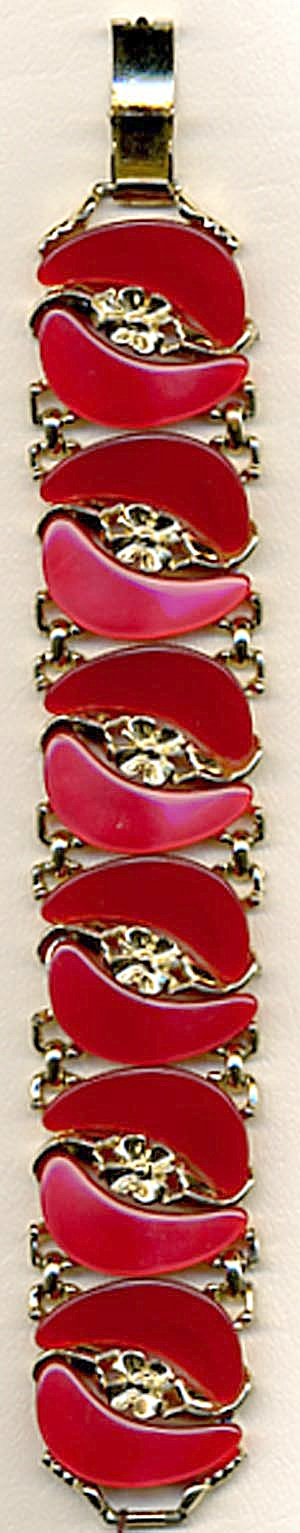 Vintage Red Thermo Plastic & Metal Bracelet (Image1)