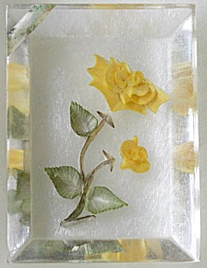 Vintage Lucite Reverse-Carved Yellow Rose Pendant (Image1)
