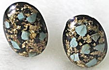 Vintage Oval Black & Aqua Plastic Earrings (Image1)