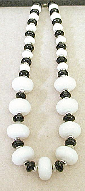 Vintage Black, White and Silver Necklace (Image1)