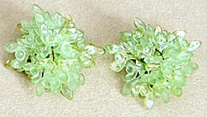 Vintage Iridescent Sea Green Flake Earrings (Image1)