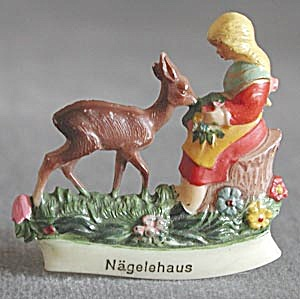 Vintage Plastic Girl Feeding Deer Pin (Image1)