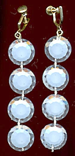 Vintage Blue Plastic Drop Earrings (Image1)