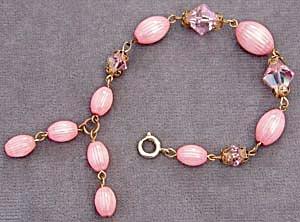 Vintage Pink Plastic and Crystal Bracelet (Image1)